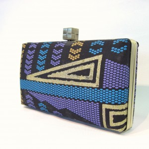 Black gold African fabric clutch bag