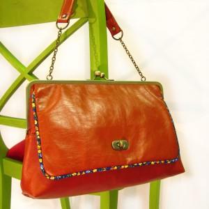 Dark orange frame bag