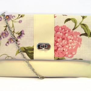 Cream floral clutch purse
