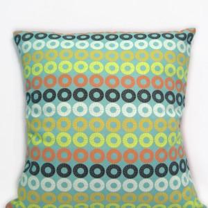 Sea blue circles cushion