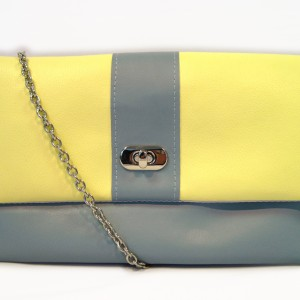 Yellow steel grey colour blocking purse