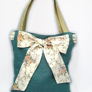Blue green tote floral bow