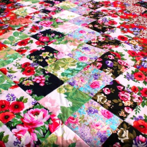 Bright floral quilt top