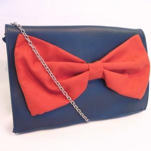 Navy terracotta bow bag
