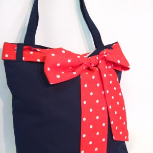 Navy tote red sash