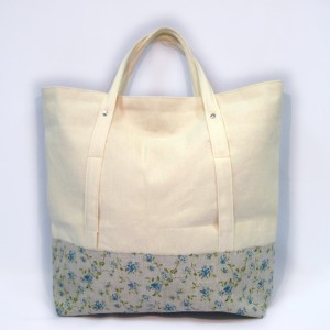 White denim and linen tote bag